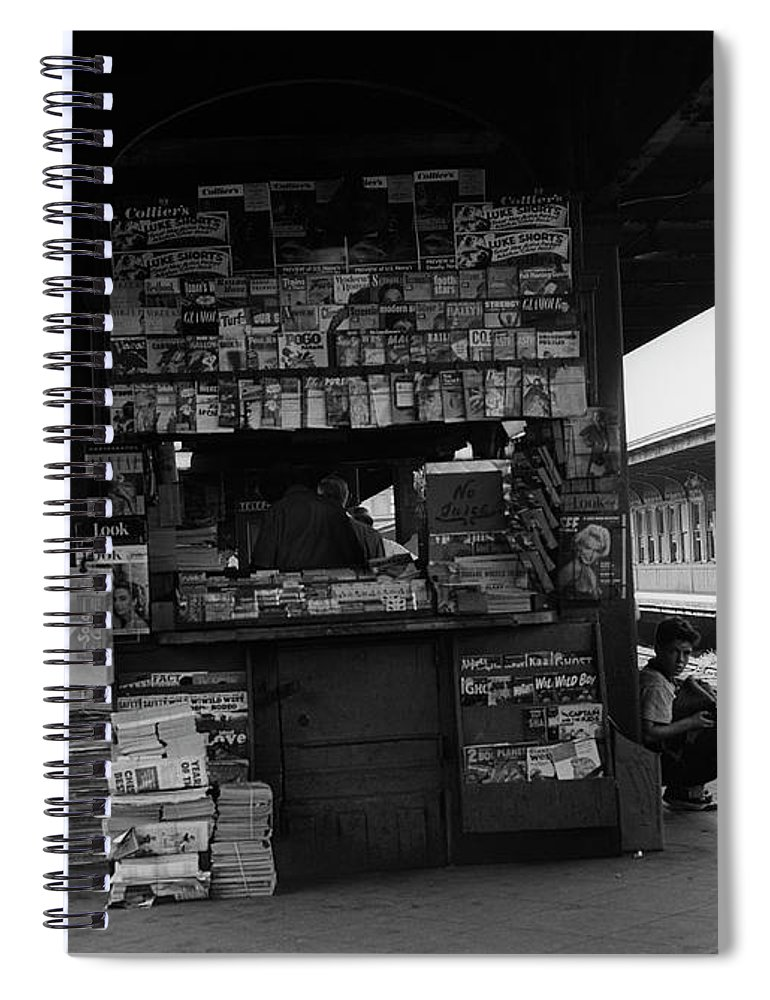 People Spiral Notebook featuring the photograph News Stand Between Train Station by George Marks
