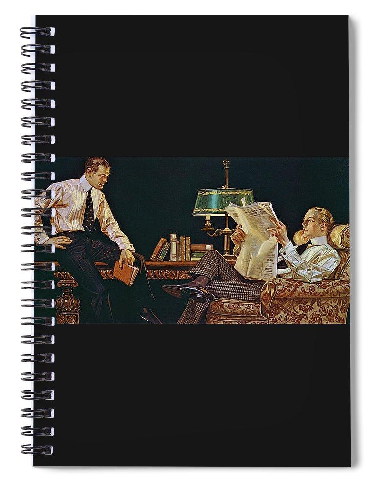 Joseph Christian Leyendecker Spiral Notebook featuring the painting Newspaper - Digital Remastered Edition by Joseph Christian Leyendecker