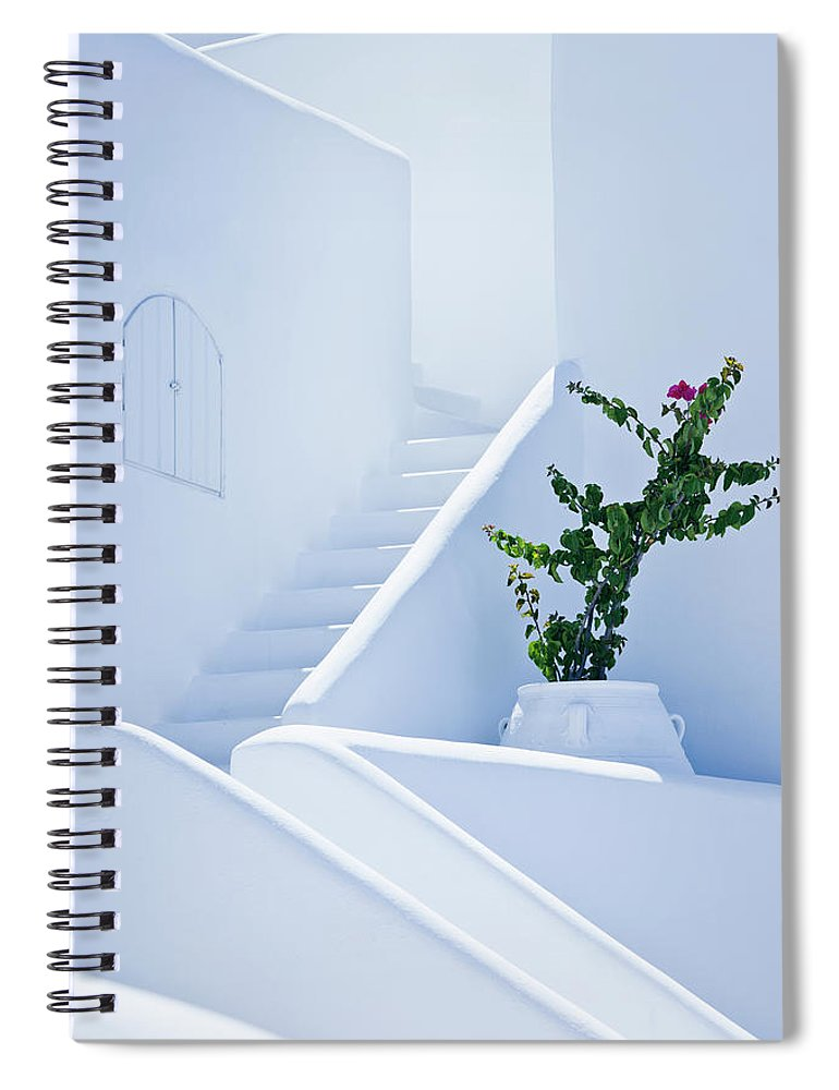 Steps Spiral Notebook featuring the photograph Nice White Stairs In Oia Village by Mbbirdy