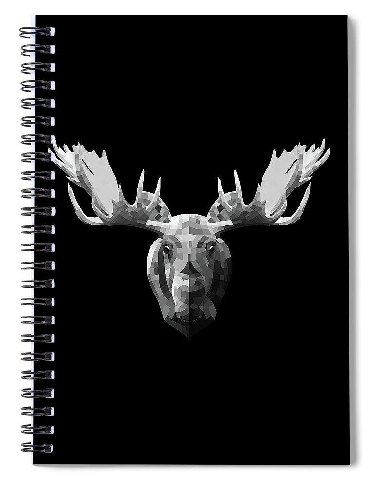 Moose Spiral Notebook featuring the digital art Night Moose by Naxart Studio