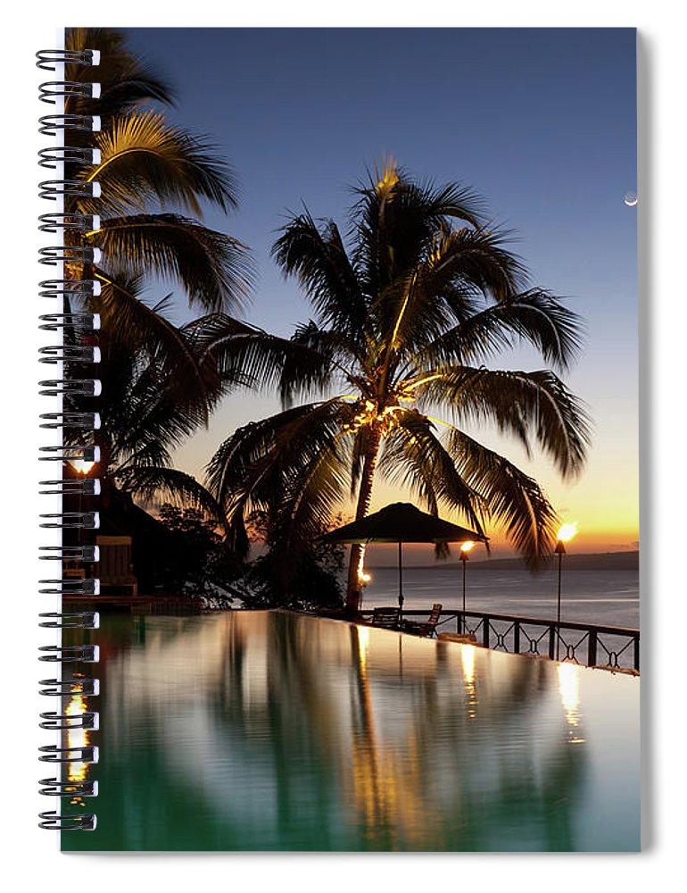 Swimming Pool Spiral Notebook featuring the photograph Nightfall At Iririki Island, Vanuatu by Holgs