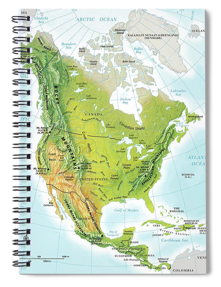 Compass Rose Spiral Notebook featuring the digital art North America Continent Map, Relief by Globe Turner, Llc