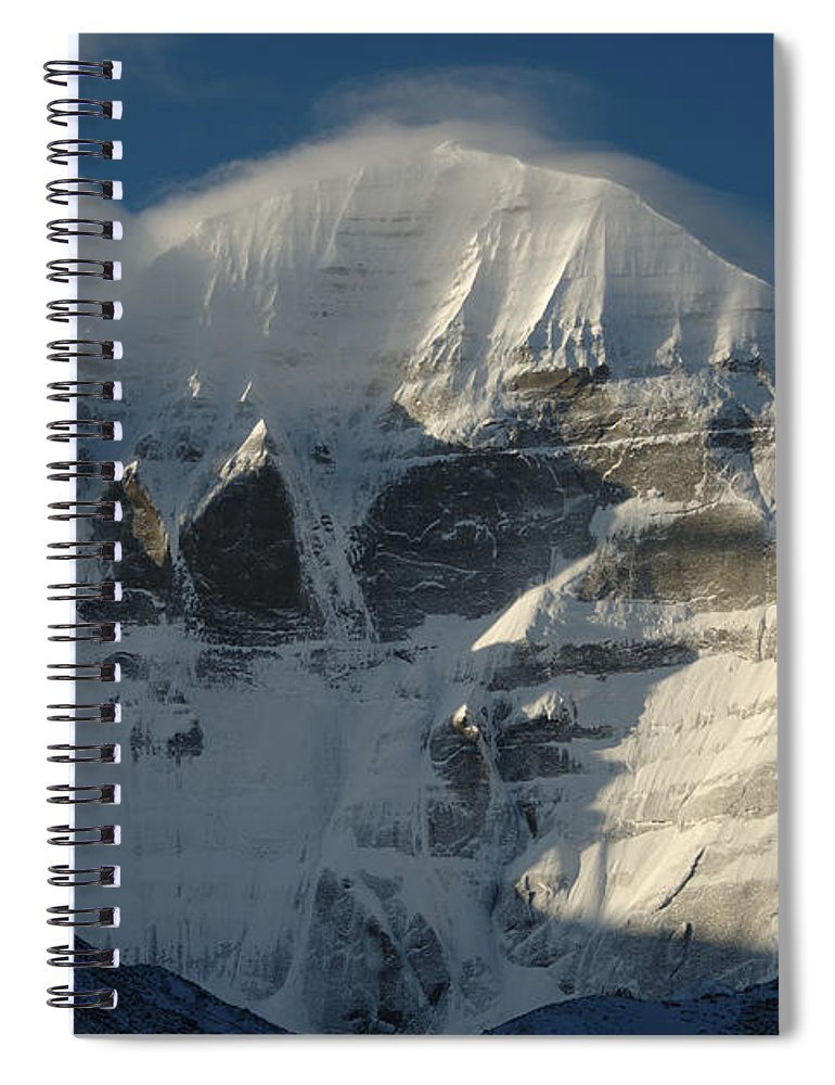 Chinese Culture Spiral Notebook featuring the photograph North Face Of Mount Kailash Gang by Tcp