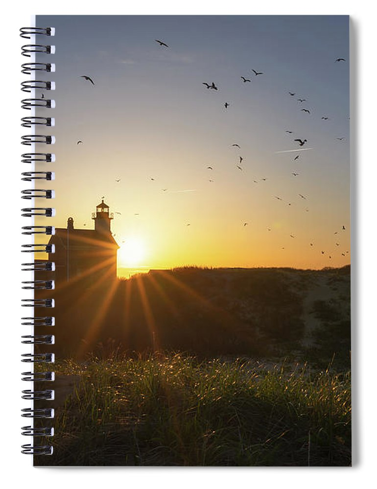 Rhode Island Spiral Notebook featuring the photograph North Lighthouse Silhouette by Michael Ver Sprill