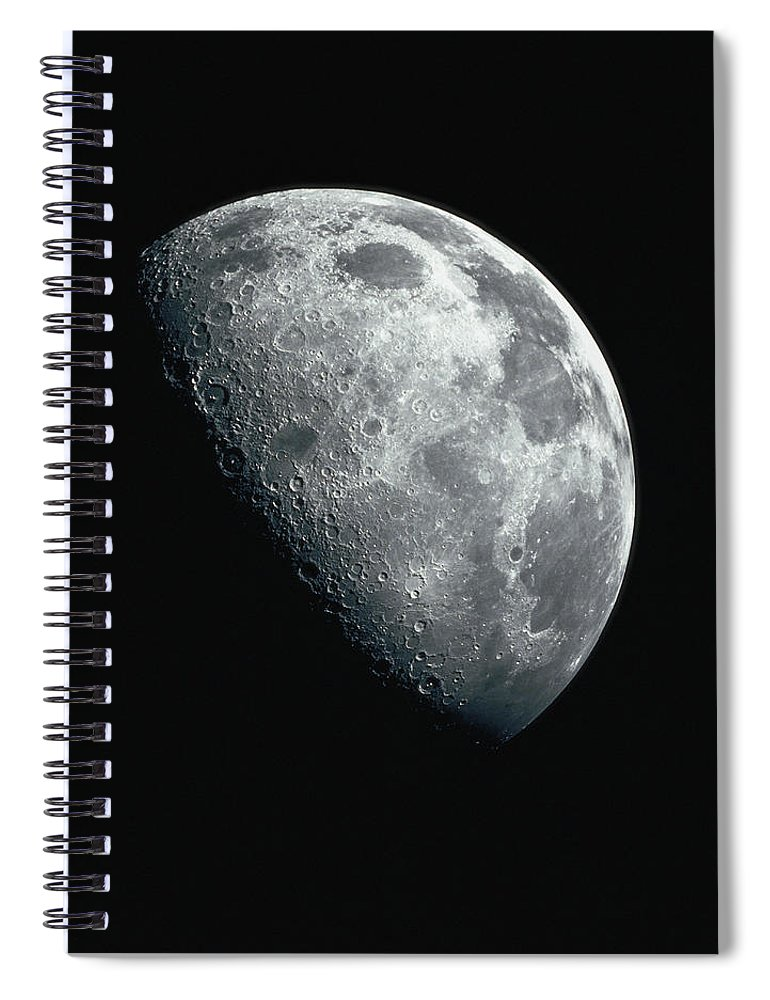 Clear Sky Spiral Notebook featuring the photograph North Pole Of The Earths Moon by Stocktrek