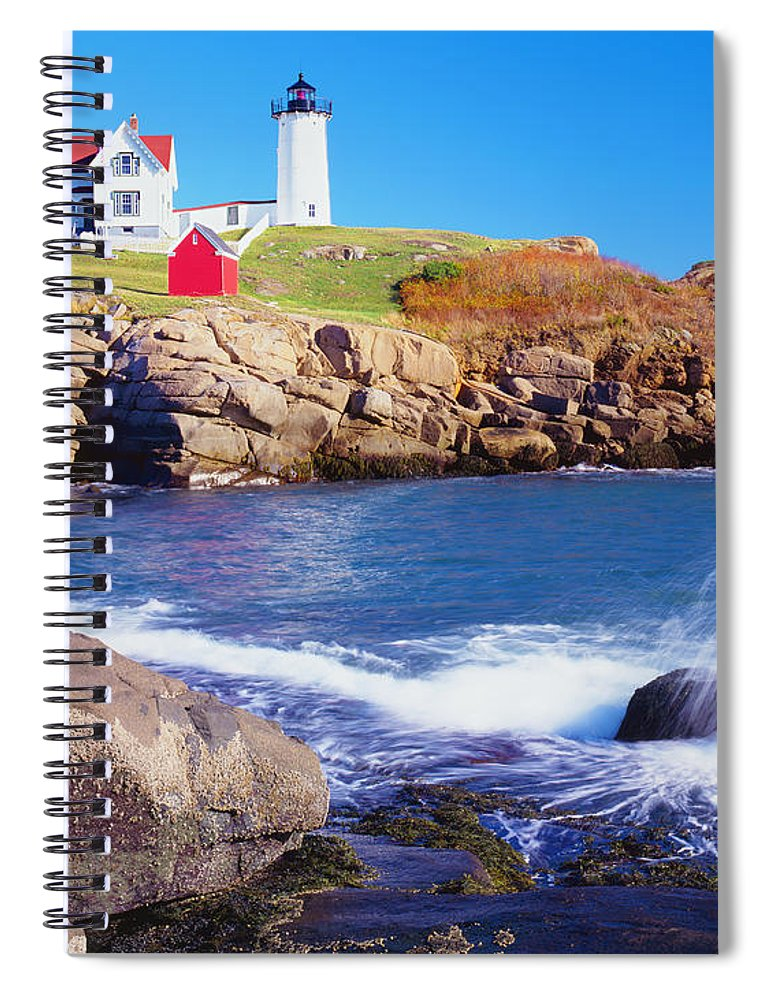 Water's Edge Spiral Notebook featuring the photograph Nubble Lighthouse And Coastine Of Maine by Ron thomas