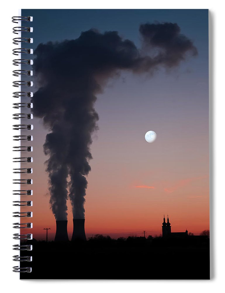Air Pollution Spiral Notebook featuring the photograph Nuclear Power Station In Bavaria by Michael Kohaupt