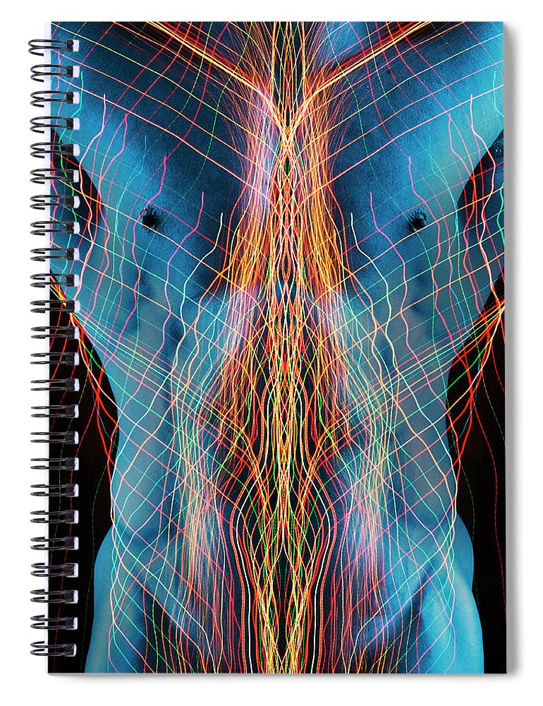 Torso Spiral Notebook featuring the photograph Nude Male Digital Composite by John Lund