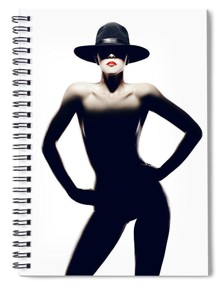 Woman Spiral Notebook featuring the photograph Nude Woman With Hat by Johan Swanepoel