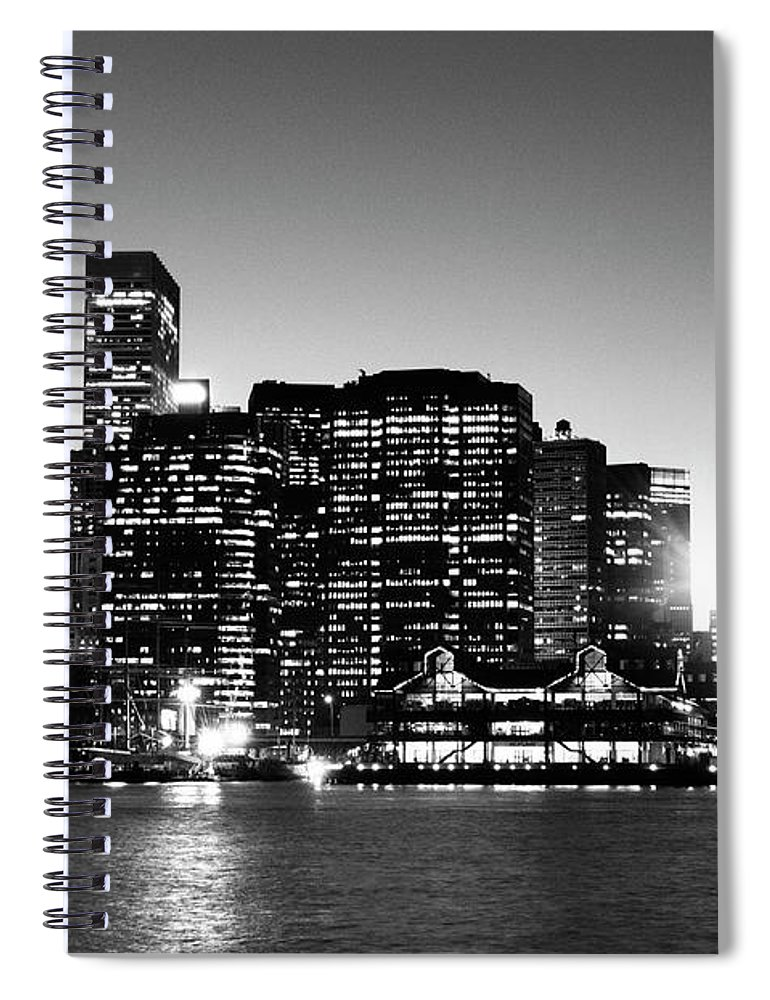 Lower Manhattan Spiral Notebook featuring the photograph Nyc Skyline At Sunset by Lisa-blue