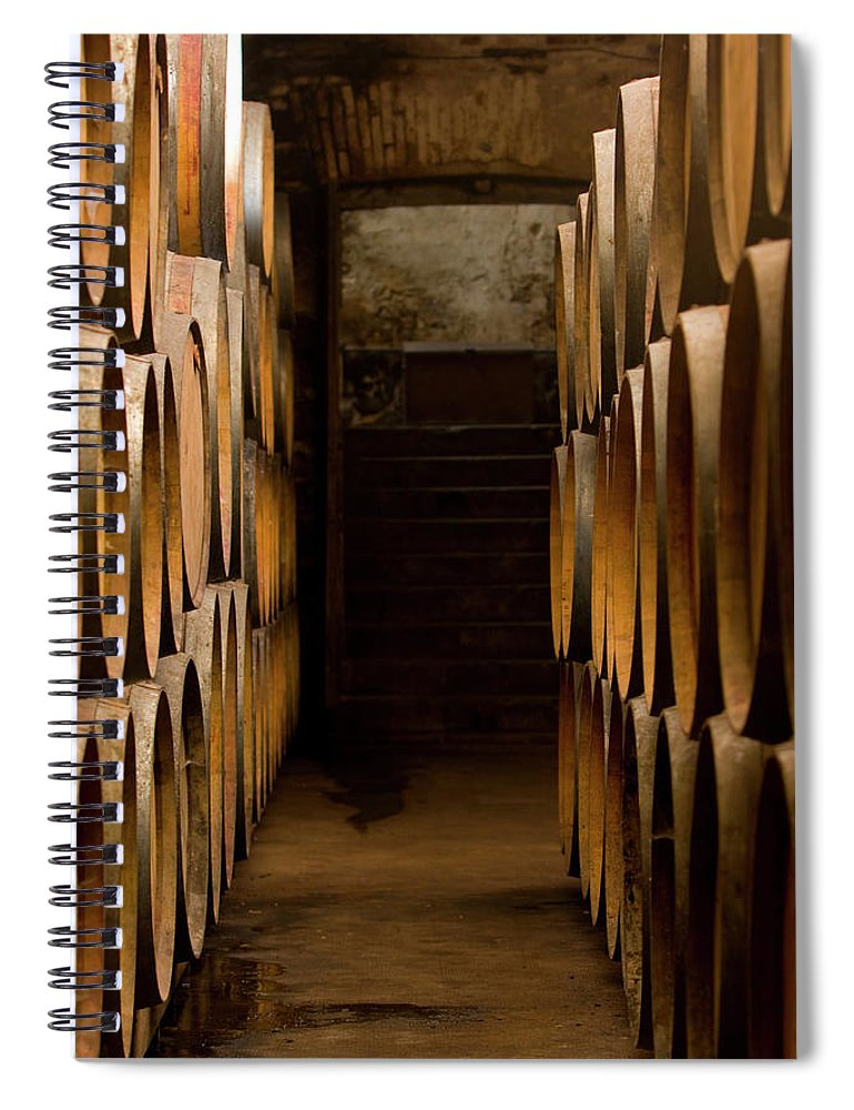 Alcohol Spiral Notebook featuring the photograph Oak Barrels At The Wine Cellar by Kycstudio