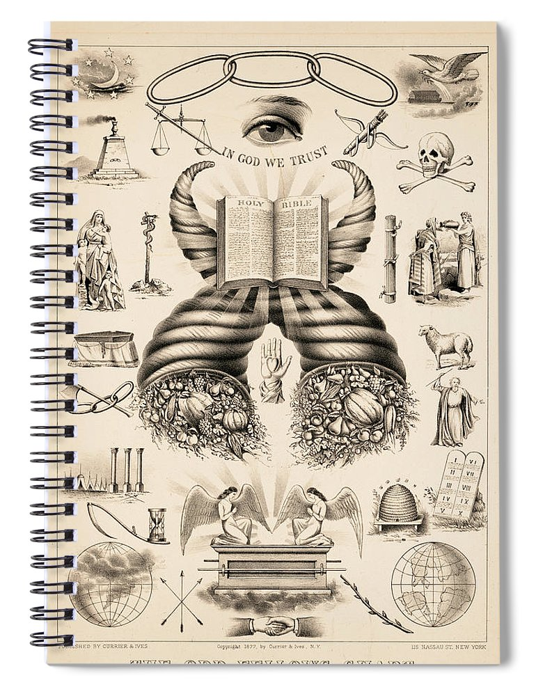 Odd-fellows Chart Spiral Notebook featuring the painting Odd-fellows Chart, 1877 by American School