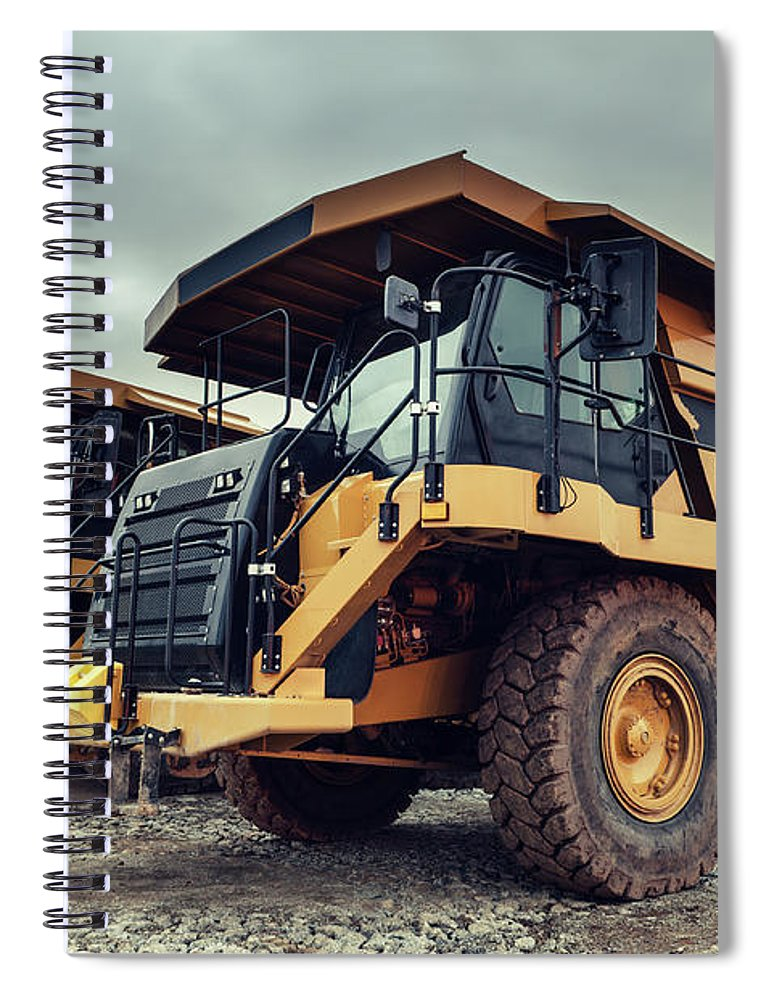 Construction Machinery Spiral Notebook featuring the photograph Off-highway Dump Trucks by Shaunl