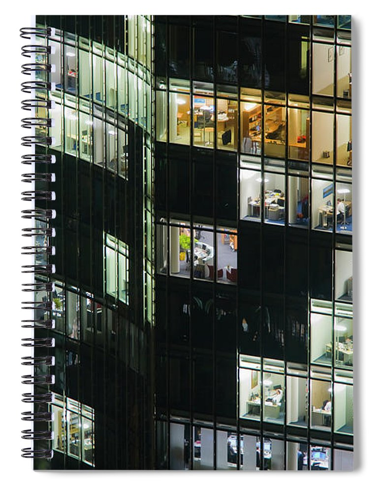 Corporate Business Spiral Notebook featuring the photograph Offices In Office Buildings At Night by Werner Dieterich