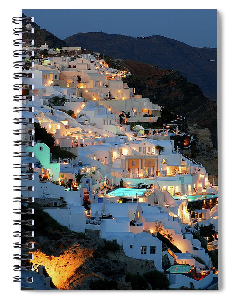 Tranquility Spiral Notebook featuring the photograph Oia, Santorini Greece At Night by Marcel Germain
