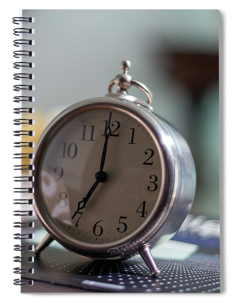 Madrid Spiral Notebook featuring the photograph Old Alarm Clock by Julio Lopez Saguar