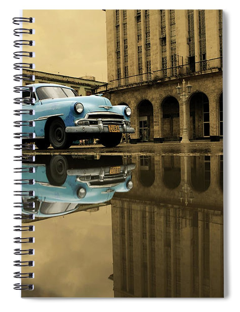 Arch Spiral Notebook featuring the photograph Old Blue Car In Havana by 1001nights