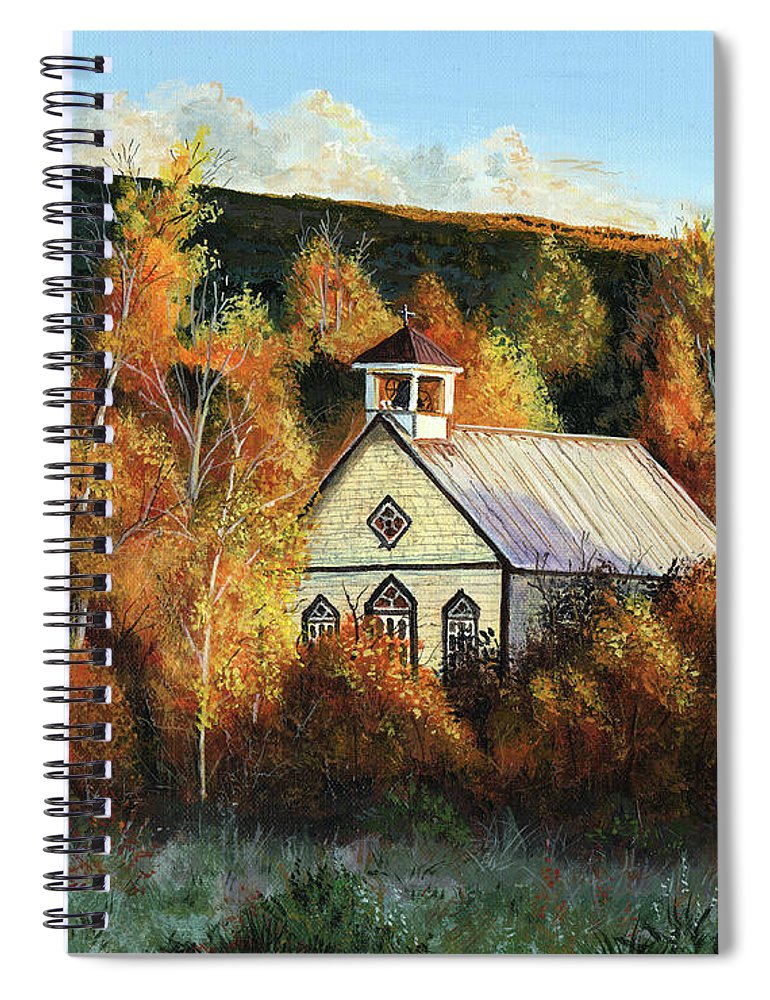 T L Spiral Notebook featuring the painting Old Church In Autumn by Timithy L Gordon