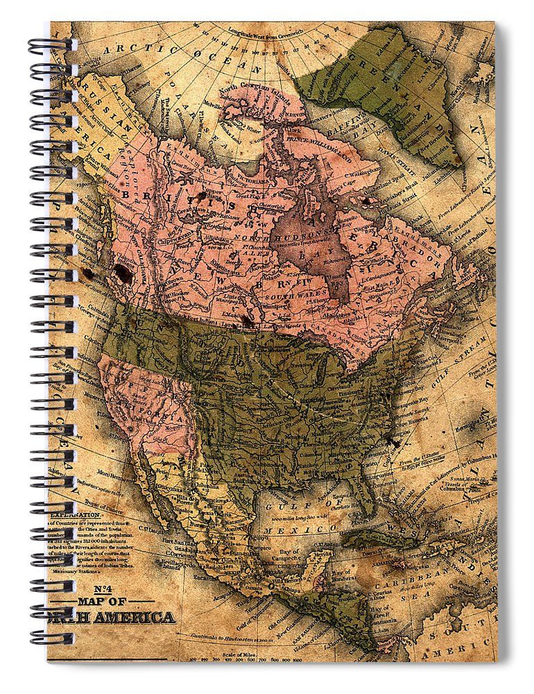 Outdoors Spiral Notebook featuring the photograph Old North America Map by Belterz