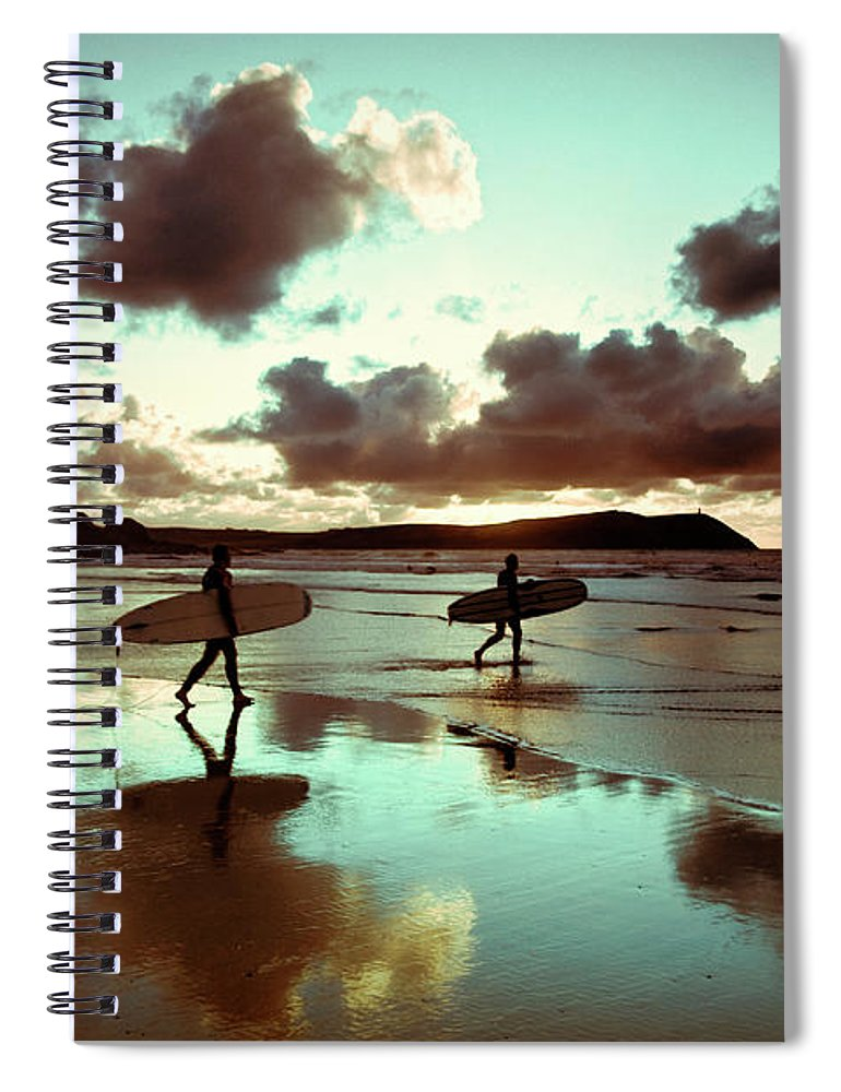 Water's Edge Spiral Notebook featuring the photograph Old Skool Surf by Landscapes, Seascapes, Jewellery & Action Photographer