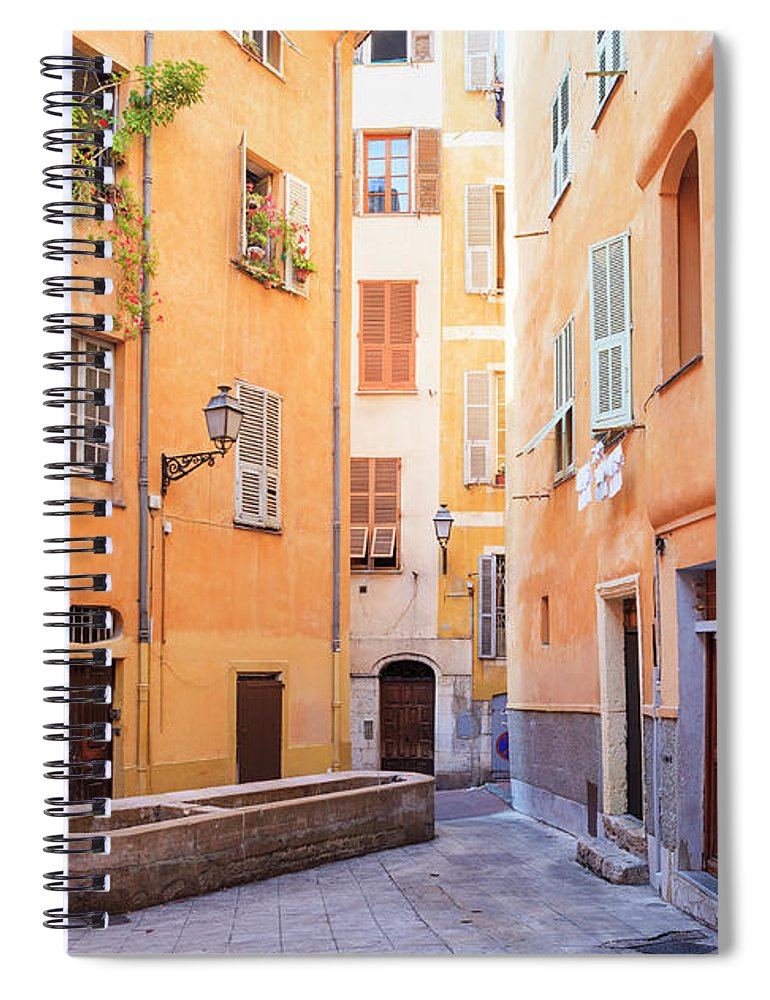 Orange Color Spiral Notebook featuring the photograph Old Town Of Nice, French Riviera, France by Aprott