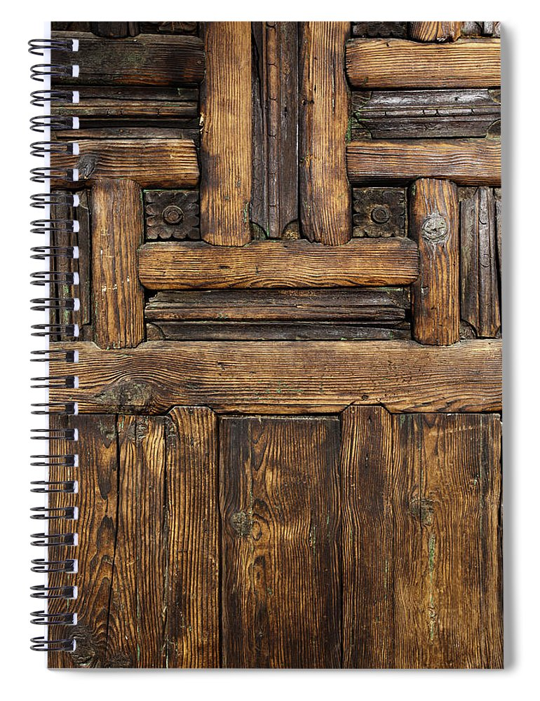 Arch Spiral Notebook featuring the photograph Old Wooden Door by Logosstock