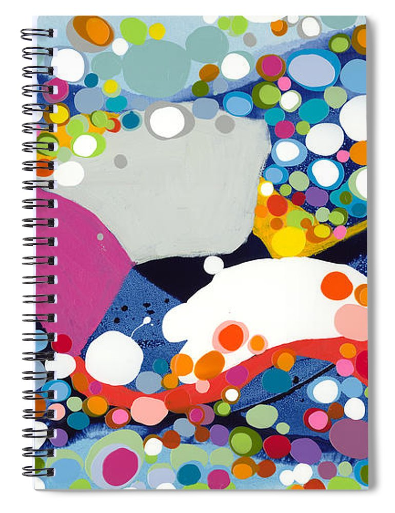 Abstract Spiral Notebook featuring the painting On The Up And Up by Claire Desjardins
