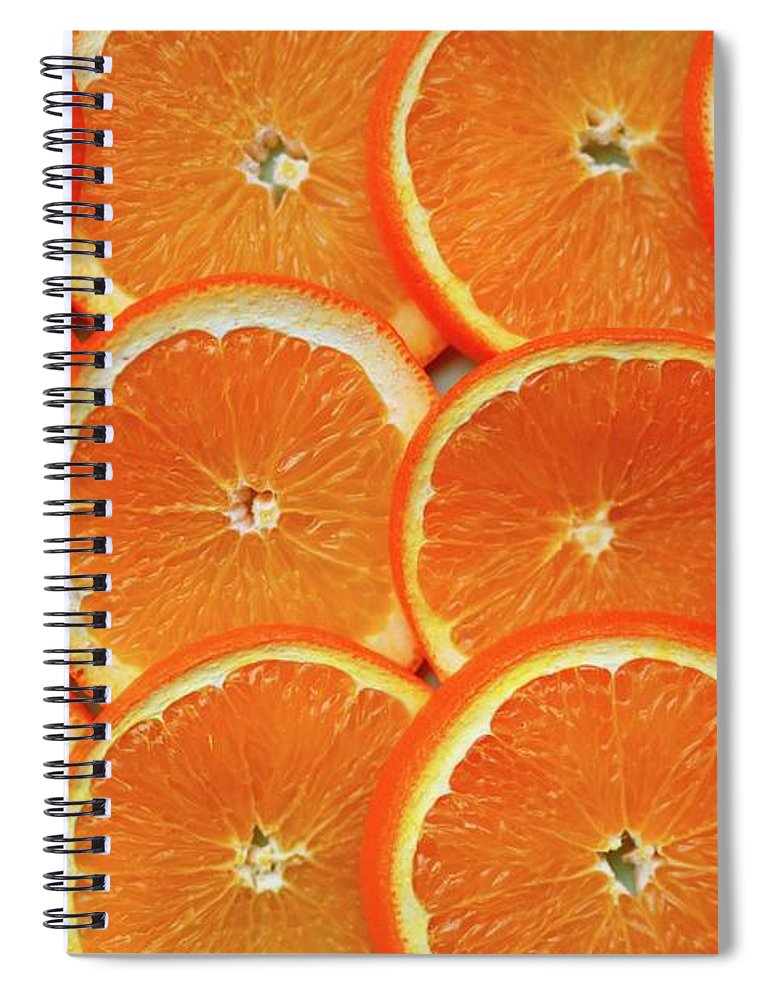 Orange Color Spiral Notebook featuring the photograph Orange Fruit Slices by D. Sharon Pruitt Pink Sherbet Photography