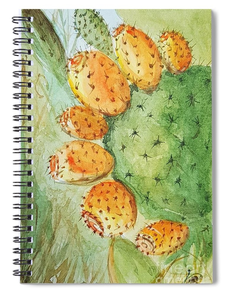 Spiral Notebook featuring the painting Orange Pricky Pear Cactus by Paola Baroni