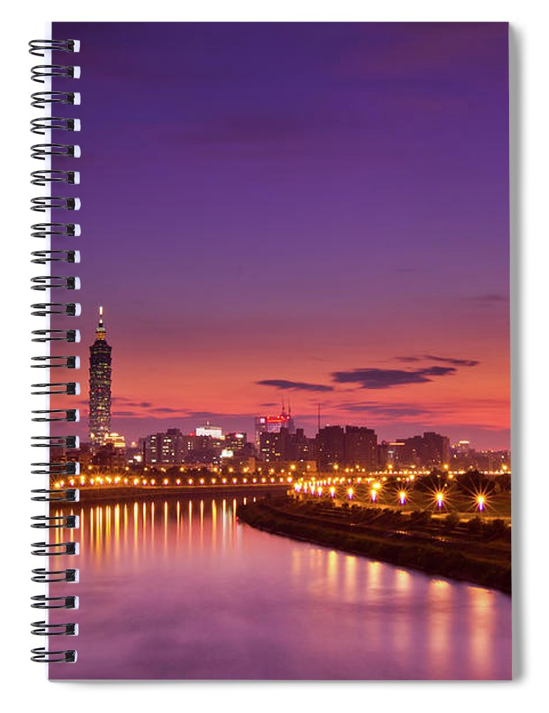 Orange Color Spiral Notebook featuring the photograph Orange Sunset by © Copyright 2011 Sharleen Chao