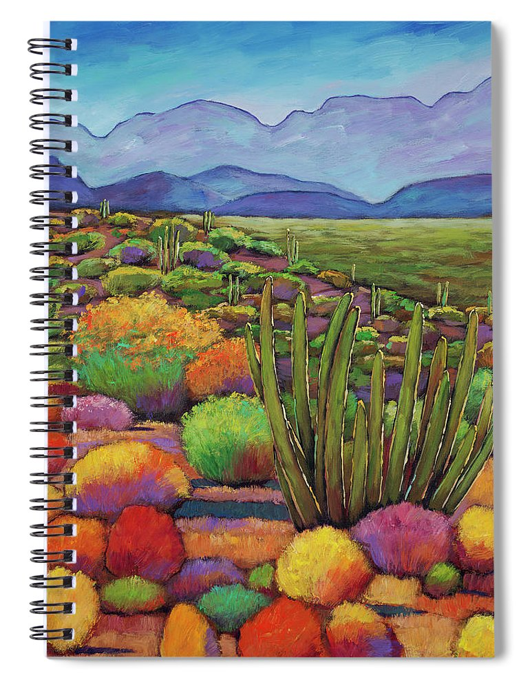 Desert Landscape Spiral Notebook featuring the painting Organ Pipe by Johnathan Harris