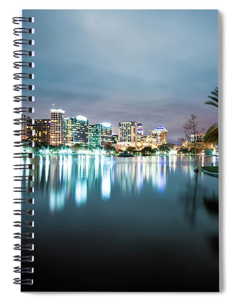 Outdoors Spiral Notebook featuring the photograph Orlando Night Cityscape by Sky Noir Photography By Bill Dickinson