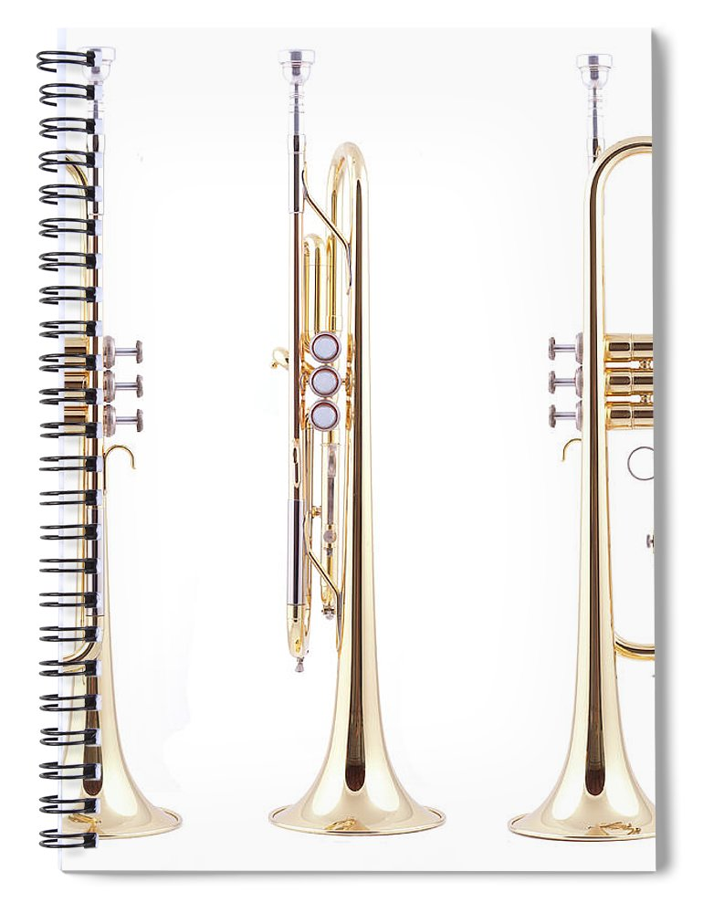 Hunting Horn Spiral Notebook featuring the photograph Orthographic Views Of A Trumpet by Photographer3431