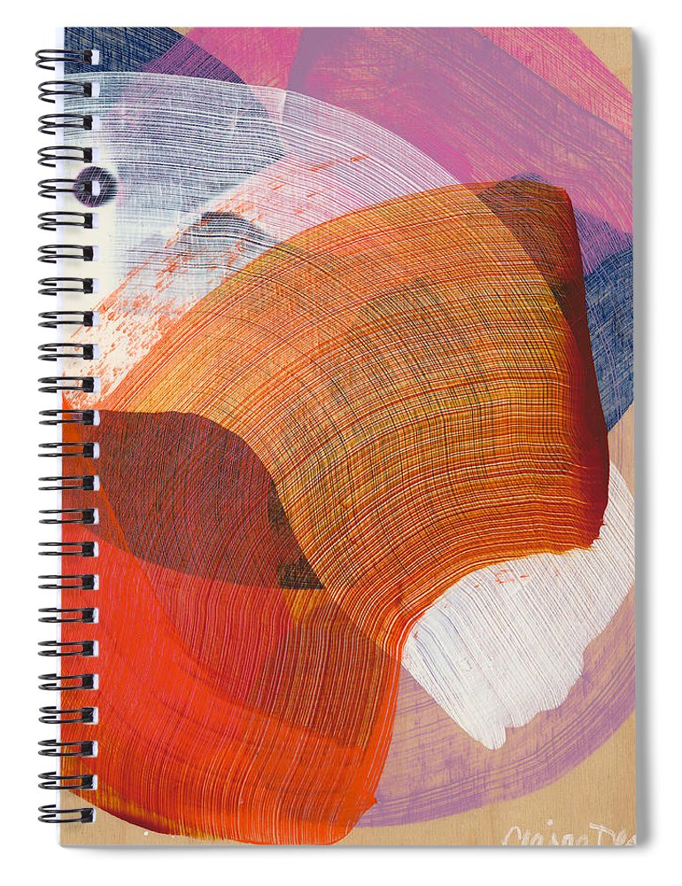 Abstract Spiral Notebook featuring the painting Out Of The Blue 01 by Claire Desjardins