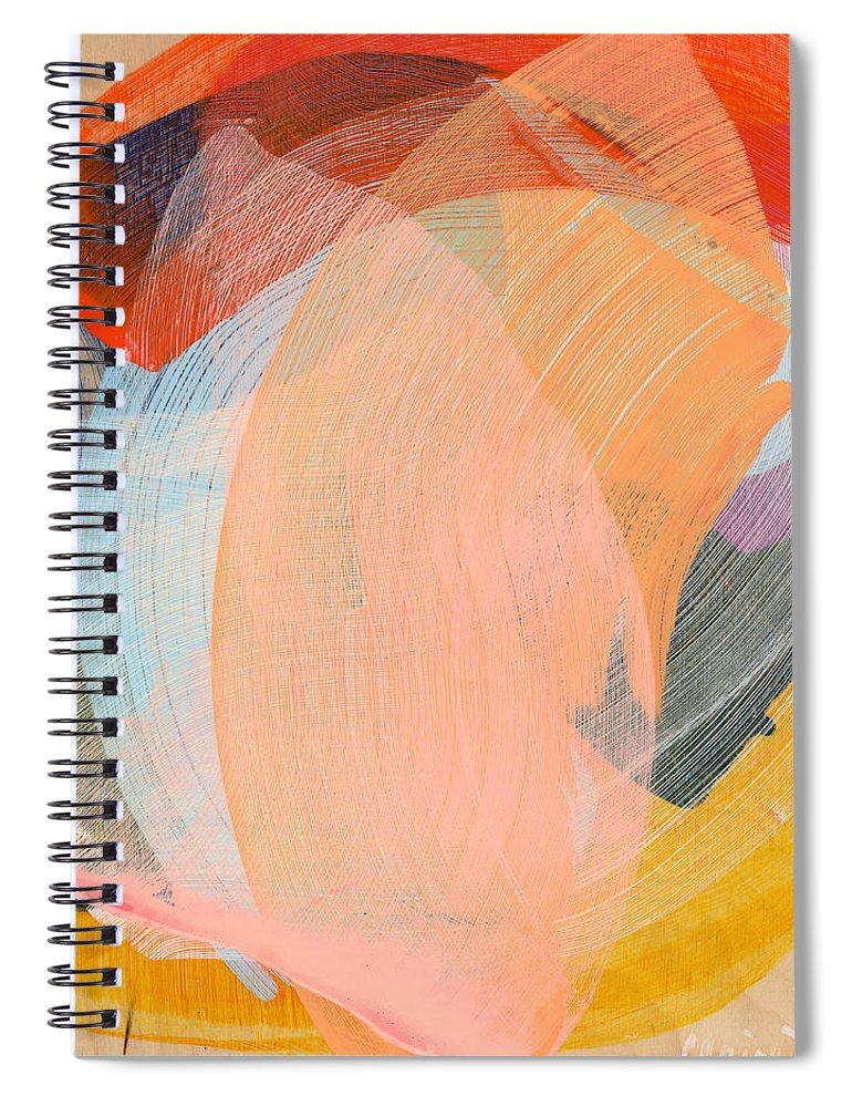 Abstract Spiral Notebook featuring the painting Out Of The Blue 02 by Claire Desjardins