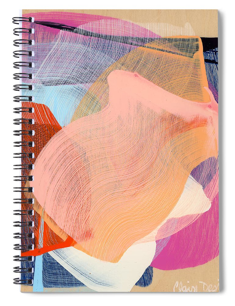 Abstract Spiral Notebook featuring the painting Out Of The Blue 03 by Claire Desjardins
