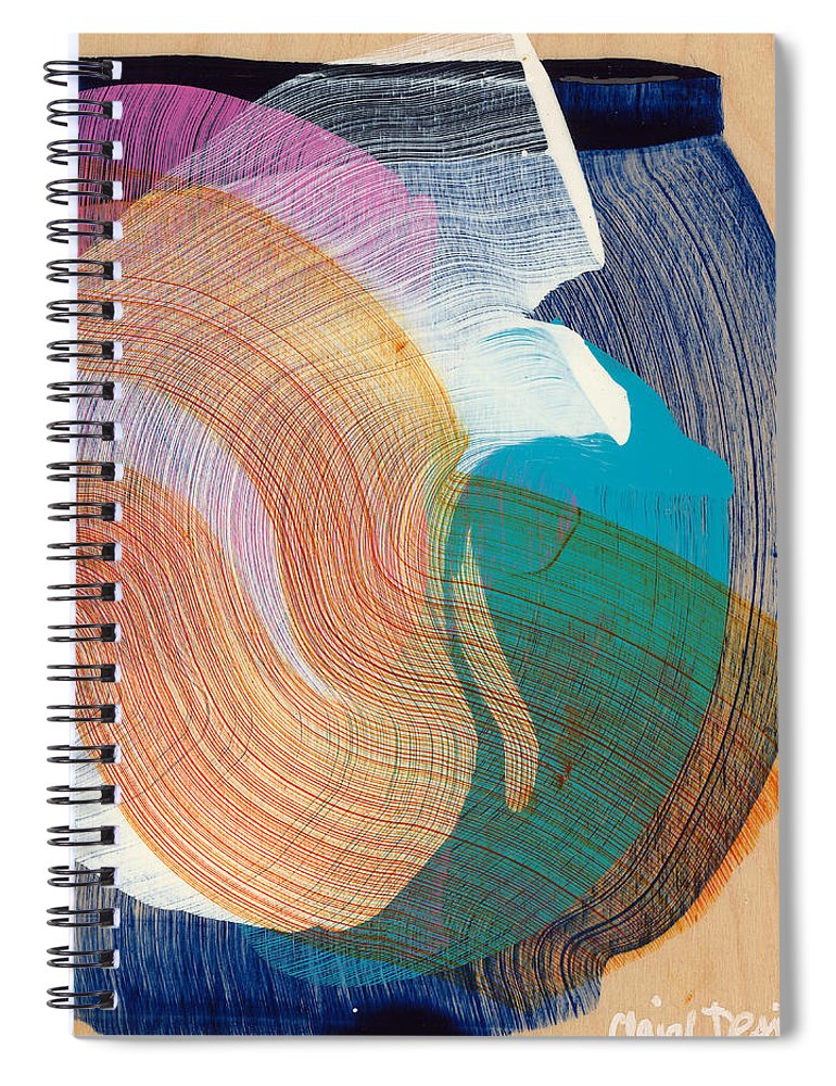 Abstract Spiral Notebook featuring the painting Out Of The Blue 07 by Claire Desjardins