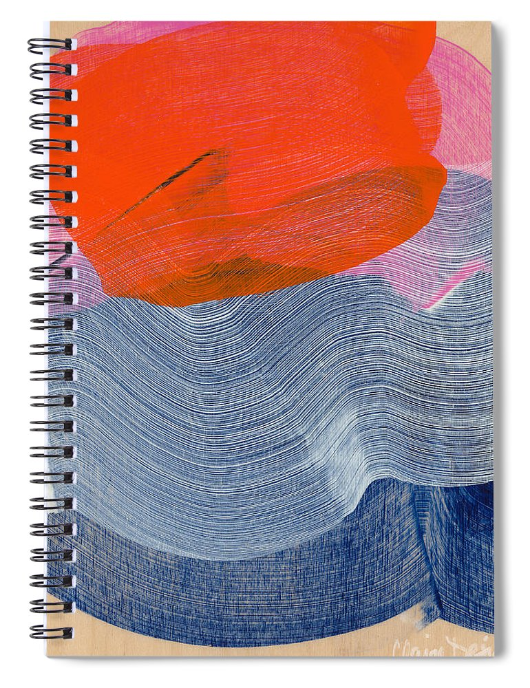 Abstract Spiral Notebook featuring the painting Out Of The Blue 08 by Claire Desjardins