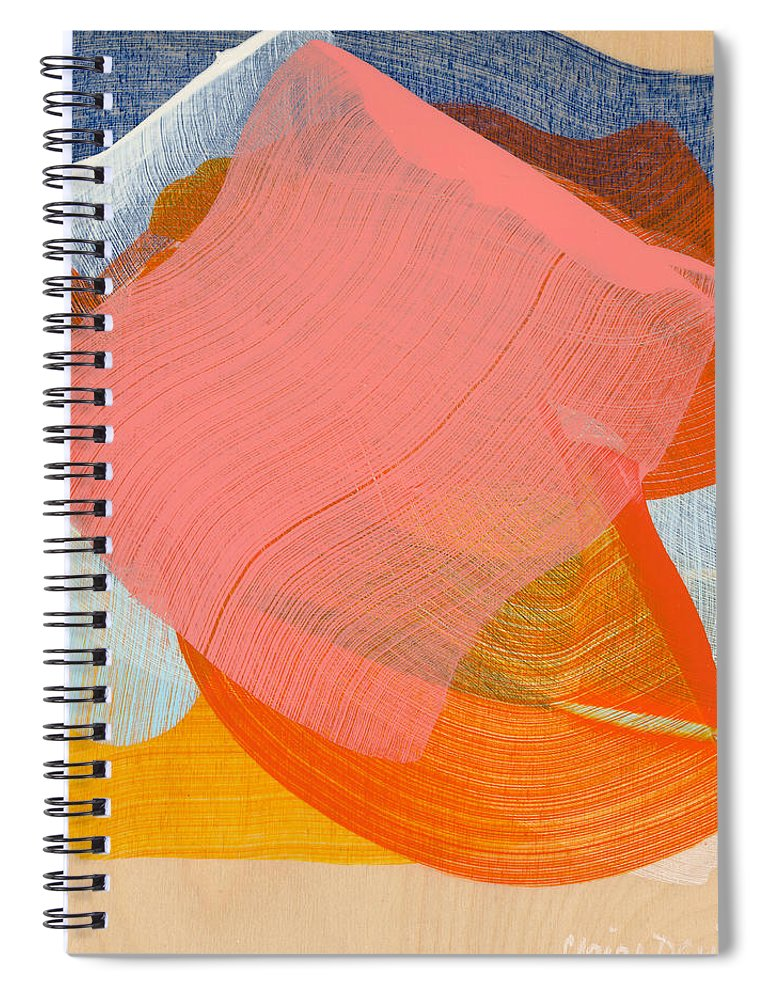 Abstract Spiral Notebook featuring the painting Out Of The Blue 10 by Claire Desjardins
