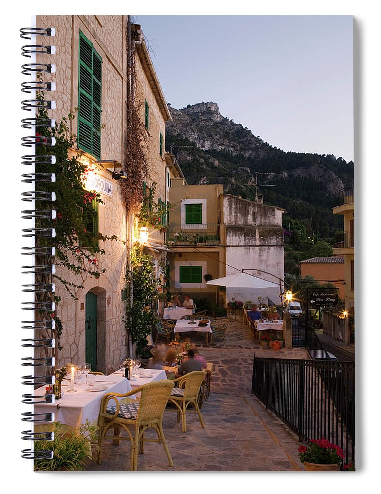 People Spiral Notebook featuring the photograph Outdoor Seating At Son Llarg Restaurant by Holger Leue
