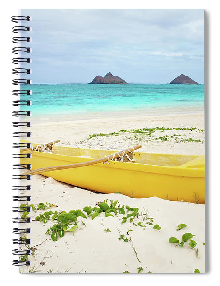 Scenics Spiral Notebook featuring the photograph Outrigger Canoe Lanikai Beach by M Swiet Productions