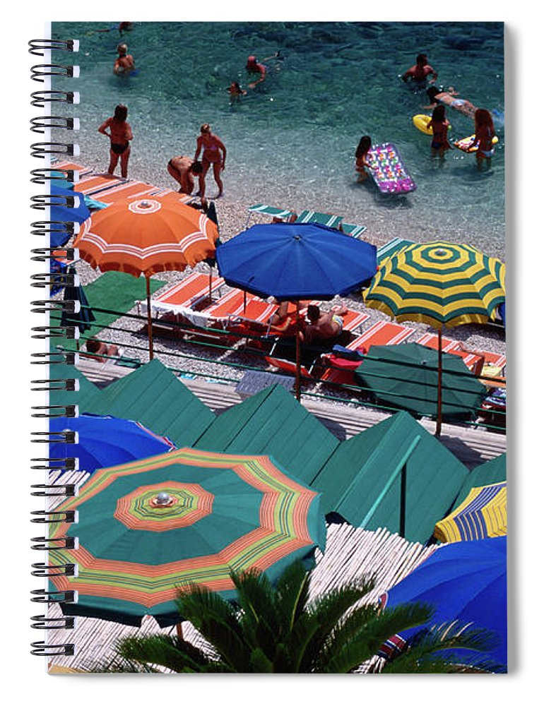 Shadow Spiral Notebook featuring the photograph Overhead Of Umbrellas At Private by Dallas Stribley