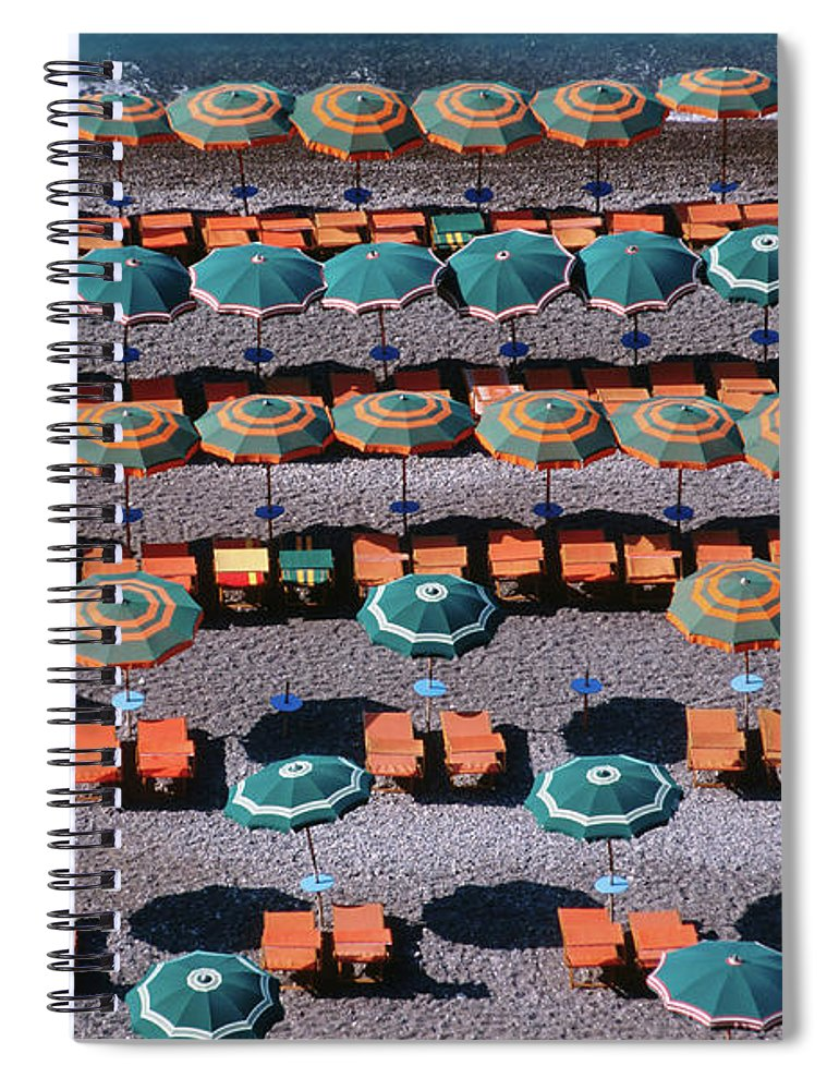 Shadow Spiral Notebook featuring the photograph Overhead Of Umbrellas, Deck Chairs On by Dallas Stribley