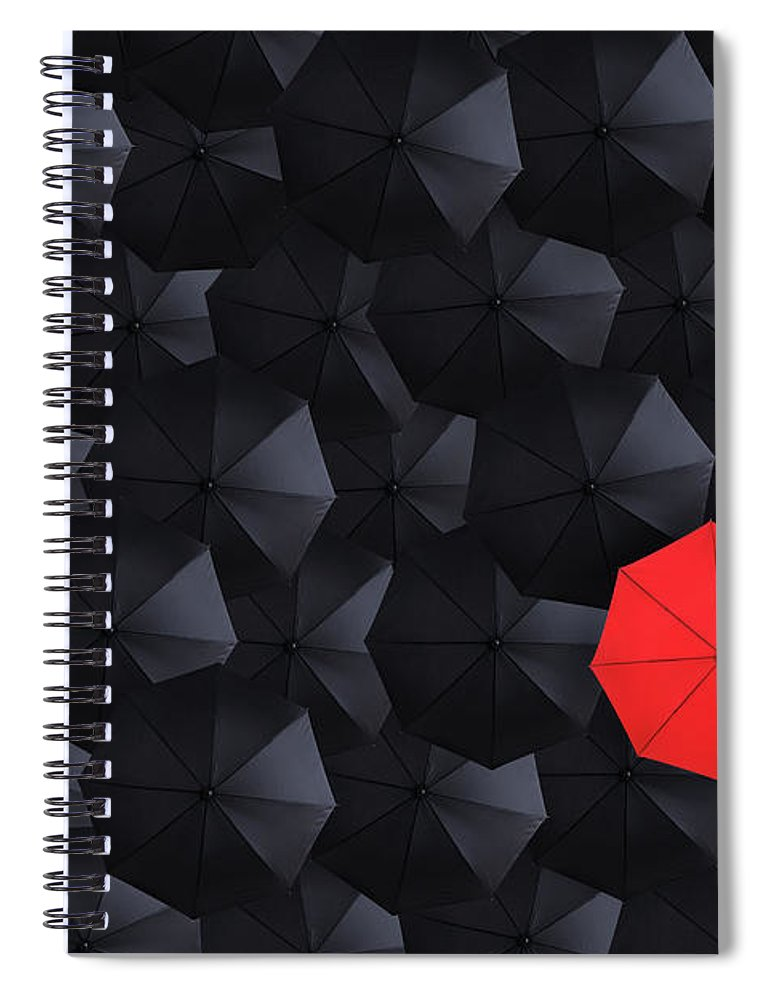 Hiding Spiral Notebook featuring the photograph Overhead View Of Many Umbrellas by Skodonnell