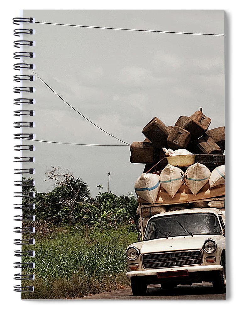 Transfer Print Spiral Notebook featuring the photograph Overloaded Car by Rodriguez Art Work