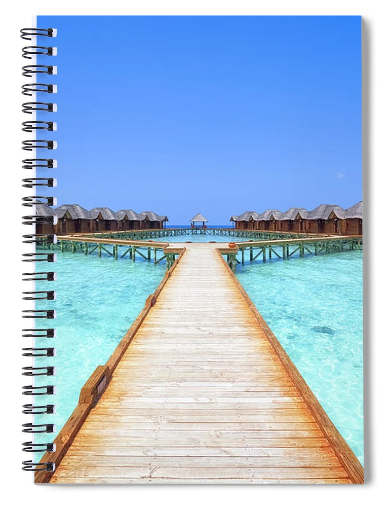 Beach Hut Spiral Notebook featuring the photograph Overwater Bungalows Boardwalk by Cinoby