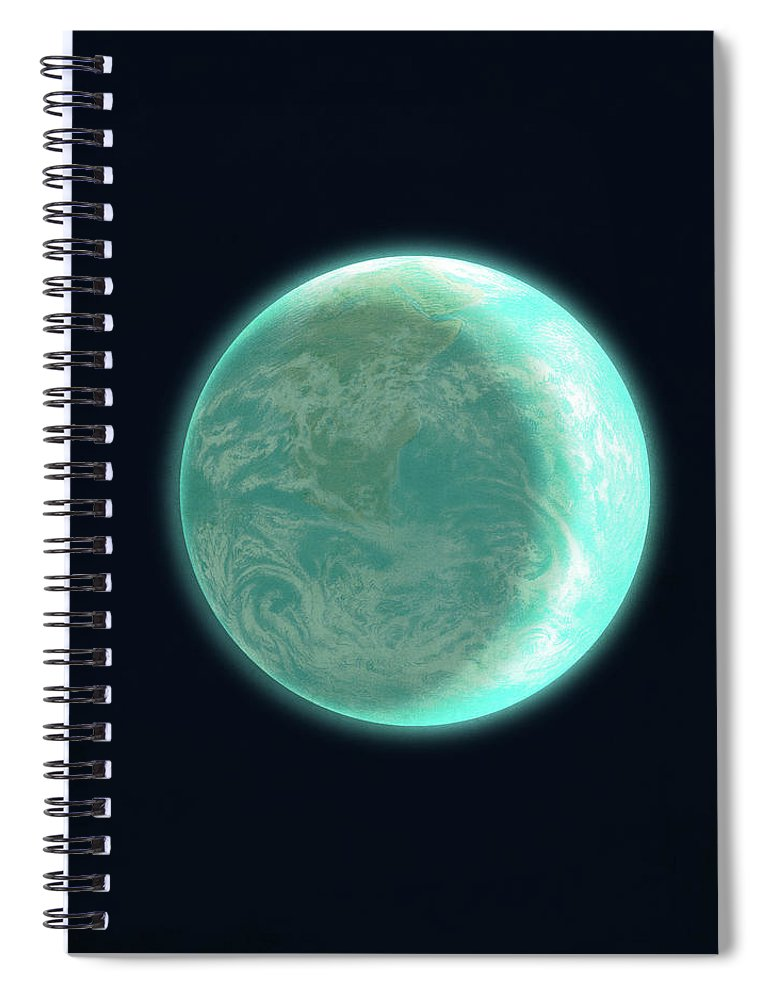 Space Spiral Notebook featuring the drawing Pale Blue Dot by Eric Fan