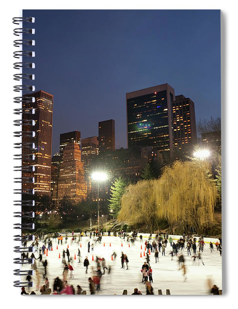 People Spiral Notebook featuring the photograph Panorama Of People Ice Skating In by Studiokiet