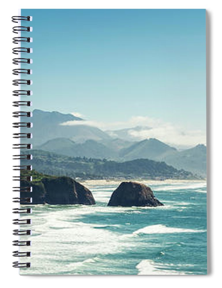 Scenics Spiral Notebook featuring the photograph Panoramic Shot Of Cannon Beach, Oregon by Kativ