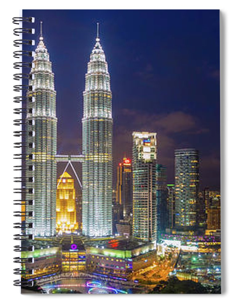 Panoramic Spiral Notebook featuring the photograph Panoramic View Of Petronas Twin Towers by Www.imagesbyhafiz.com